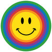 Circle rainbow smiley face sad blue